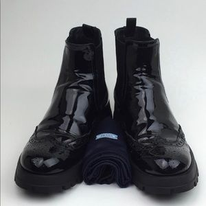 PRADA  Chelsea  patent leather Boot sz 7.5